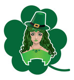 Leprechaun girl with shamrock