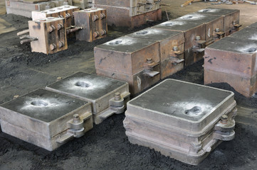 Foundry, sand molded casting, molding flasks - ready for casting