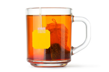 Glass cup with teabag