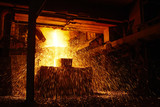 Molten hot steel is pouring - Industrial metallurgy poster