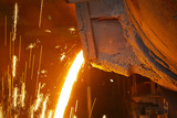 Molten hot steel is pouring - Industrial metallurgy