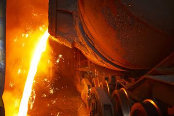Molten hot steel is pouring - Industrial metallurgy