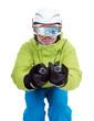 Skifahrer in Abfahrtshocke mit Skibrille und Panorama