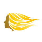 Vector Logo blonde girl fast in the wind