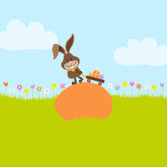 Bunny On Egg Pulling Handcart With Easter Eggs