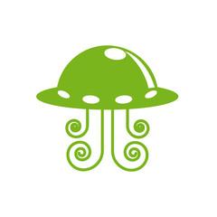 Vector logo Martian spaceship