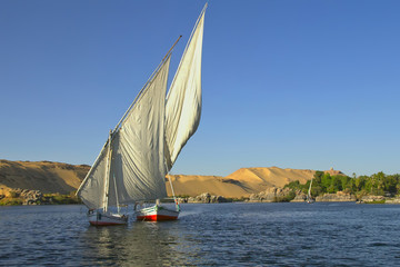 Typical sailing on the Nile. (near Aswan, Egypt).