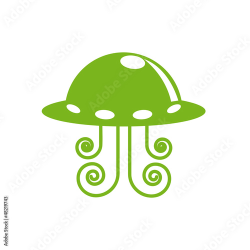 Vector logo Martian spaceship