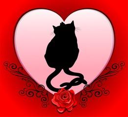 Cats in Love Heart Valentine Card-Gatti innamorati San Valentino