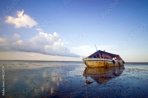 Abandoned broken boat