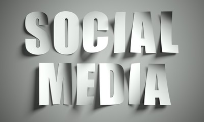 Social media cut from paper on background