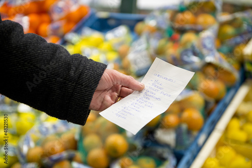 Shopping list with groceries