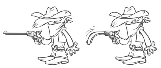 Funny outline cowboy with a drooping gun.