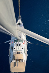 view from the mast on a sailing yacht