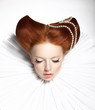 Theatre. Woman in Medieval Frill - Retro Hairstyle. Fantasy