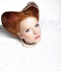Red Head Duchess in Jabot - Retro. Theatrical Makeup. Masquerade