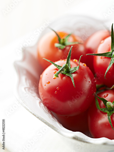 Close up of cherry tomatoes in a bowl
