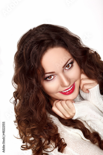 Beautiful Brunette Woman in White Knitted Jersey - Pretty Smile