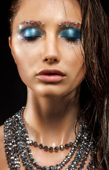 Alluring Wet Woman Face - Beads Necklace, Bright Blue Makeup
