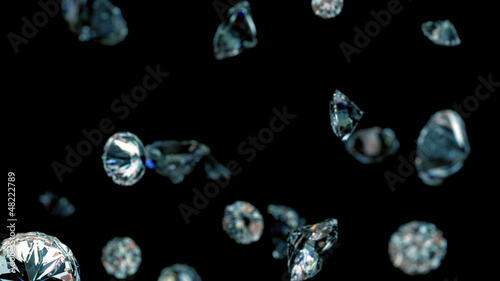 slowly falling diamonds, beautiful background. loop
