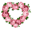 Pink roses heart frame. Vector illustration.