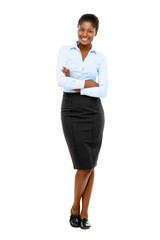 Happy African American businesswoman full length portrait on whi