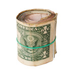dirty roll of United States dollars