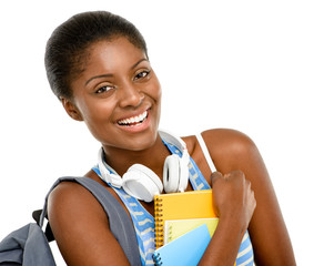 Successful African American student woman going back to school i