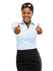 Happy African American businesswoman thumbs up isolated on white