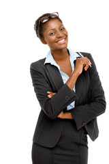 Happy African American businesswoman holding pen white backgroun