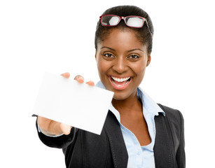 African American businesswoman holding white card isolated
