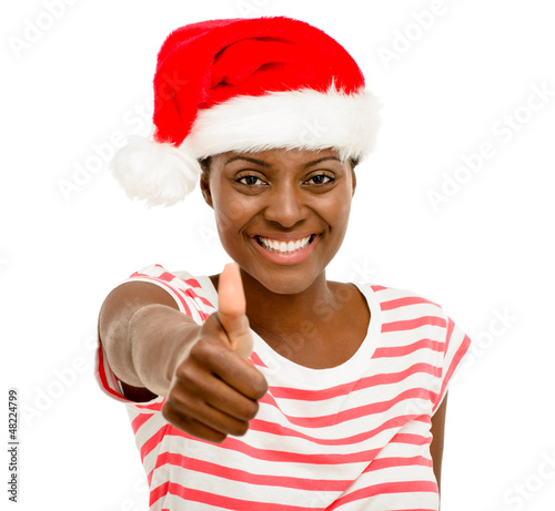 Cute African American girl fingers thumbs up sign wearing Christ