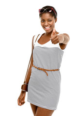Sexy African American woman holding thumbs up white background