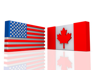 Flags Agreement Canada and United States of America