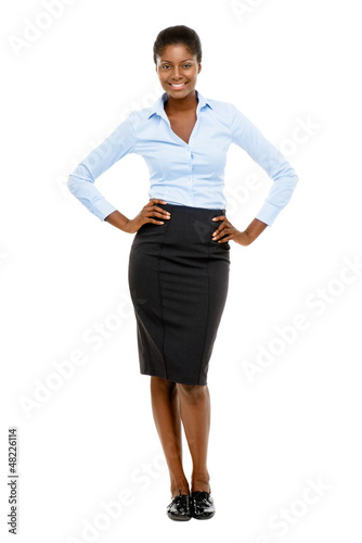 Happy African American business woman isolated on white backgrou