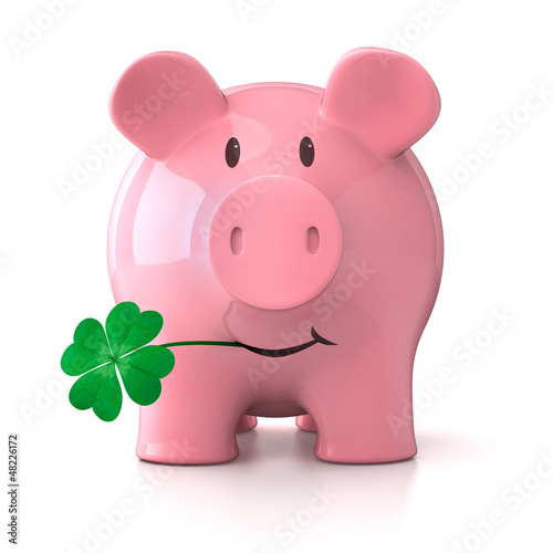 Leinwandbild Motiv Glücksschwein mit Kleeblatt