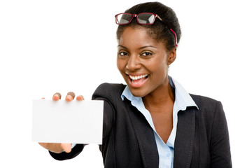 Happy African American business woman holding placard isolated o