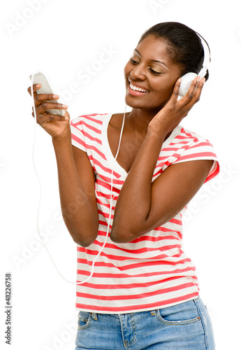 Beautiful African American Woman video messaging mobile phone is