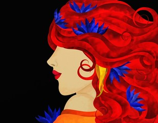 profilo di donna con capelli rossi