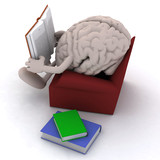 brain organ reading a book from the couch