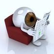 eye ball reading a newspaper from the couch