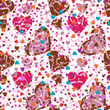 Confetti with colorful hearts - Seamless pattern