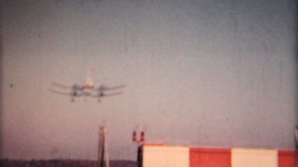 Large Airplane Comes In For Landing-1958 Vintage 8mm film