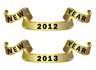 gold ribbon with new year label 2012-2013