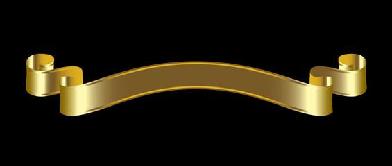 golden ribbons on black background
