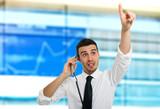 Stock broker at work poster