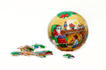 christmas ball puzzle from parts isolated