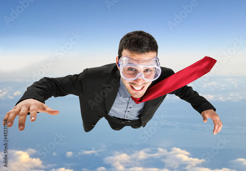 Funny businessman skydiving