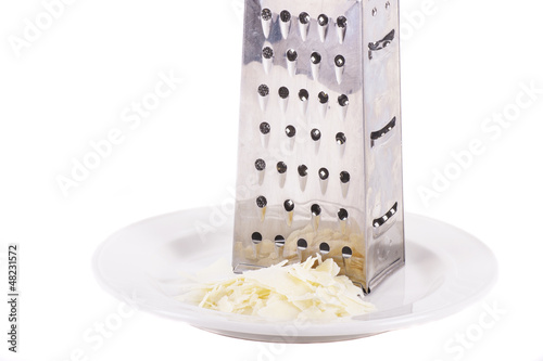Grated Parmesan on White Plate