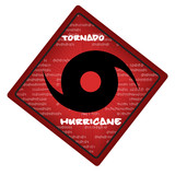 hurricane warning sign on web button